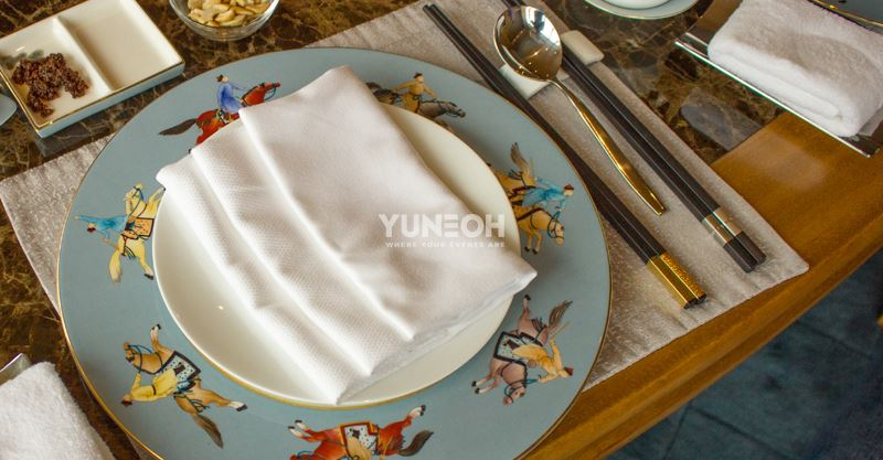 Mongolia Horse-man hand printed plates and cups on a simple Chinese Lauriat table-setting